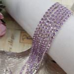 Silver Plated Cup Chain with Light Amethyst Rhinestone, 2-3 mm