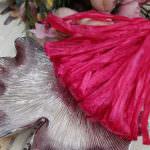 Рафия, бордовый перламутровый цвет, ширина 5 мм