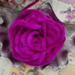Viscose Chenille Thread, Bright Pink Color, 1m