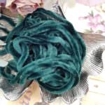 Viscose Chenille Thread, Emerald Green Color, 1m