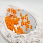 Граненные чешские бусины Fire Polished, Непрозрачный оранжевый, 3-4 мм, #93120