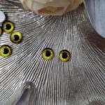 Кабошоны-глаза с плоской обратной стороной, Коричнево-желтый, 8 мм