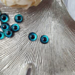 Eye Cabochon with Flat Back, Dark Turquoise, 8 mm