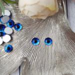 Кабошоны-глаза с плоской обратной стороной, Ярко-синий, 8 мм