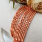 Шариковая цепочка (перлина) с граненными шариками, Оранжевый, 1.5 мм