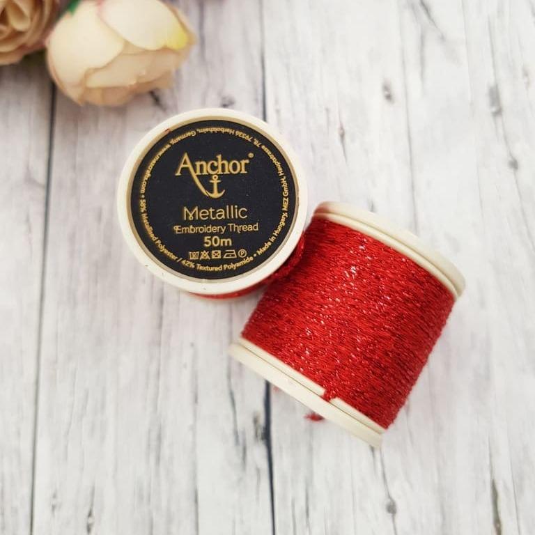 Anchor Metallic Thread Red