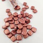 CzechMates Tile Beads, Saturated Metallic Grenadine, 6x6mm, PB306-66-04B01