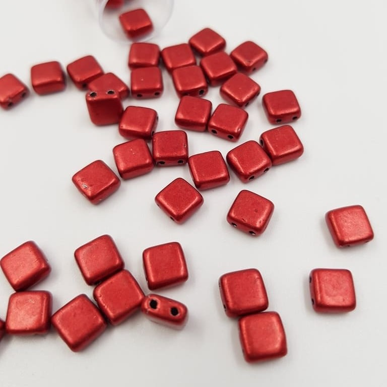 PB306-66-05A08 CzechMates Tile Bead 6mm (loose) ColorTrends Saturated Metallic Cherry Tomato (2)