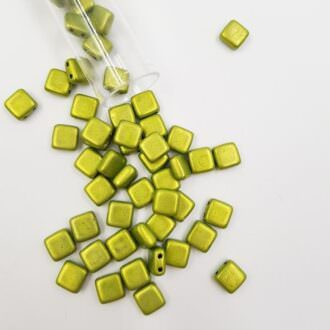 PB306-66-05A09 CzechMates Tile Bead 6mm (loose) ColorTrends Satrated Metallic Lime Punch