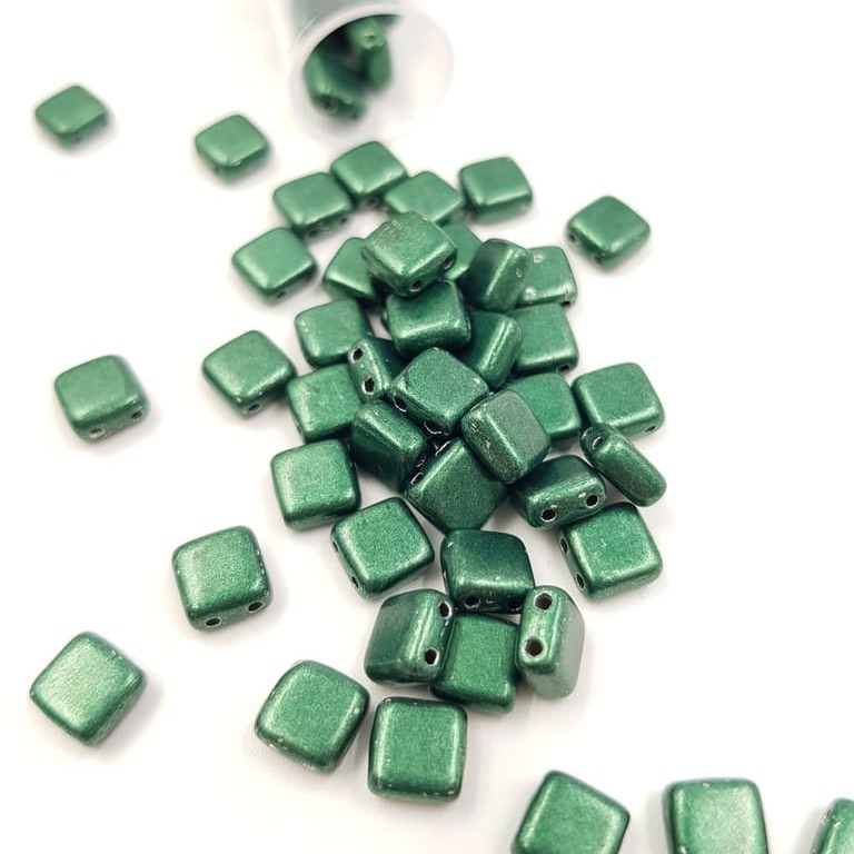 PB306-66-06B05 CzechMates Tile Bead 6mm (loose) ColorTrends Saturated Metallic Martini Olivine