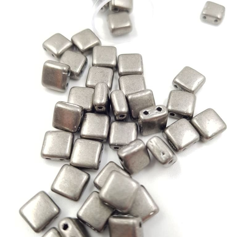 PB306-66-07B08 CzechMates Tile Bead 6mm (loose) ColorTrends Saturated Metallic Frost Grey