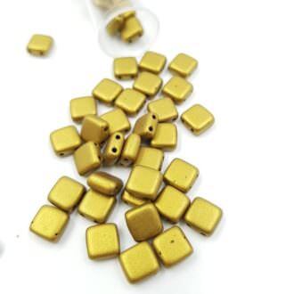 PB306-66-K0172 CzechMates Tile Bead 6mm (loose) Matte - Metallic Aztec Gold