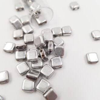 PB306-66-S00030 CzechMates Tile Bead 6mm (loose) Silver