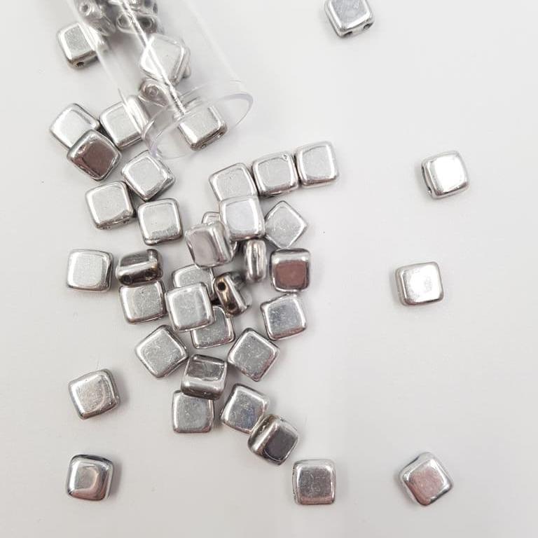 PB306-66-S00030 CzechMates Tile Bead 6mm (loose) Silver