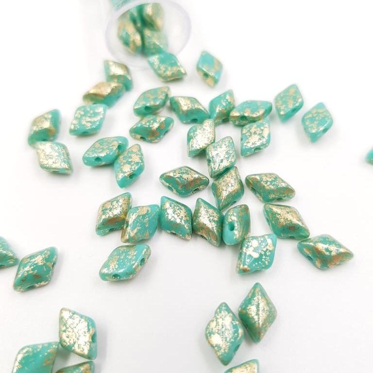 PB379-85-S22C63130 GEMDUO 8 x 5mm (loose) Gold Splash - Opaque Turquoise