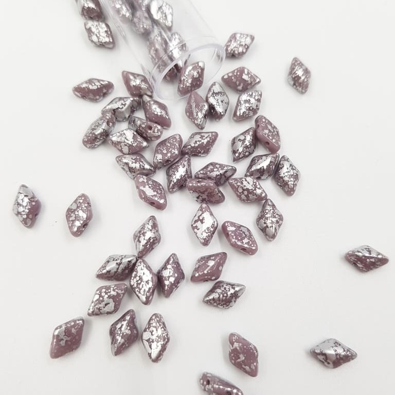 PB379-85-S23C23020 GEMDUO 8 x 5mm (loose) Silver Splash - Opaque Amethyst