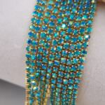 Gold Plated Cup Chain with Aquamarine AB Crystal Rhinestones, SS6 (2mm)