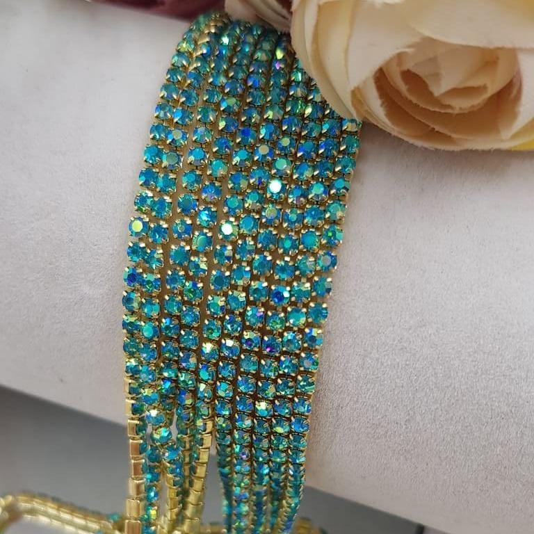 Crystal Rhinestone cup chain aquamarine AB gold ss6