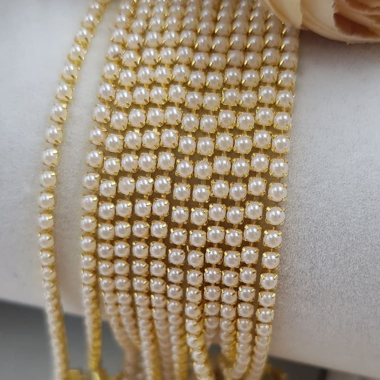 Crystal Pearl cup chain gold ss6