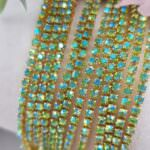 Gold Plated Cup Chain with Peridot AB Crystal Rhinestones, SS6 (2mm)