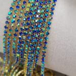 Gold Plated Cup Chain with Sapphire AB Crystal Rhinestones, SS6 (2mm)