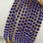 Gold Plated Cup Chain with Majestic Blue Crystal Rhinestones, SS6