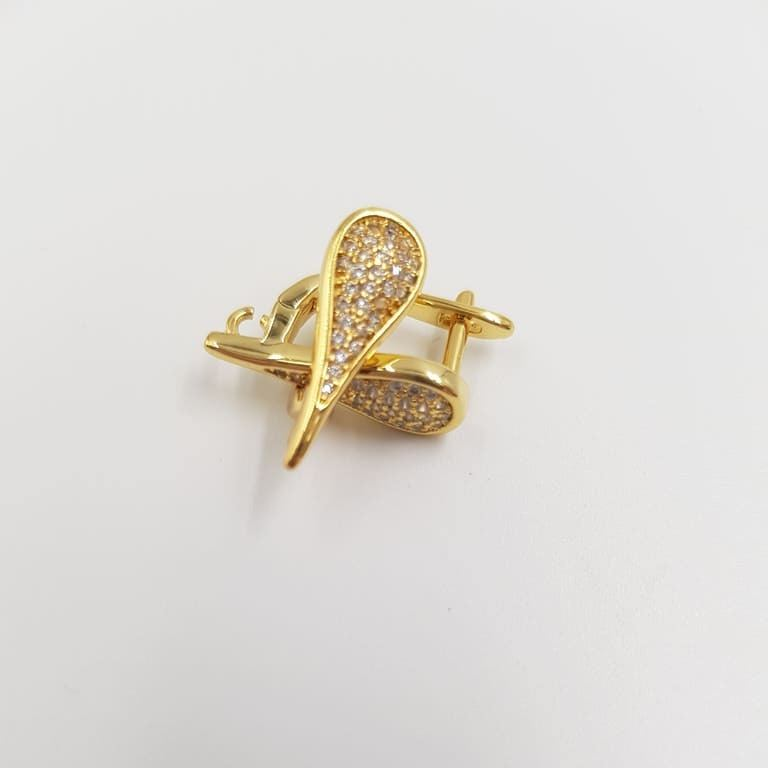 Earring components with Rhinestones Gold Plated
