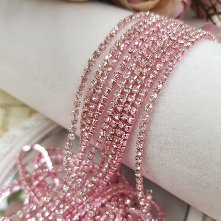 Rose cup chain crystal rhinestones ss6