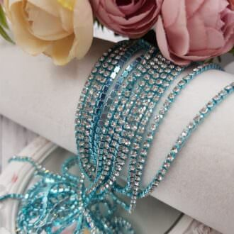 Turquoise cup chain crystal rhinestones ss6