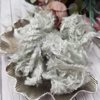 Feather chenille thread platinum grey