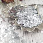 "Loose Flat Sequins/Paillettes, Six-Petals Flower ""Roselline"", Silver, 5mm, Andrea Bilics"