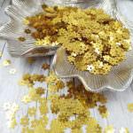 """Рассыпные плоские пайетки, Цветок с шестью лепестками """"Роза"""", Золото, 5 мм, Andrea Bilics"""