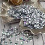 Italian Cup Sequins/Paillettes, Silver Color with Iridescent Metallic Aspect #1115, Andrea Bilics