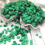 Italian Cup Sequins/Paillettes, Green Color with Satin Aspect #746W, Andrea Bilics