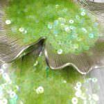 Italian Flat Sequins/Paillettes, Lime Green Iridescent Transparent Aspect #108, Andrea Bilics