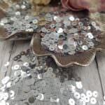 """Italian Flat Sequins/Paillettes, Silver """"Metallizzati"""" Aspect #1111, Andrea Bilics"""