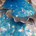 Italian Flat Sequins/Paillettes, Blue, Iridescent Transparent Aspect #121, Andrea Bilics