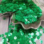 """Итальянские пайетки, плоские, зеленый, эффект """"Металлизированный"""" #7031, Andrea Bilics"""