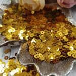 "Italian Flat Sequins/Paillettes, Dark Gold ""Metallizzati"" Aspect #8031, Andrea Bilics"