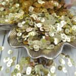 "Italian Flat Sequins/Paillettes, Light Gold ""Iridescent Metallized"" Aspect #2015, Andrea Bilics"