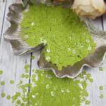 """Italian Flat Sequins/Paillettes, Green Pea """"Opaline"""" Aspect #7654, Andrea Bilics"""
