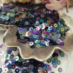 "Italian Flat Sequins/Paillettes, Grey ""Iridescent Metallized"" Aspect #9275, Andrea Bilics"