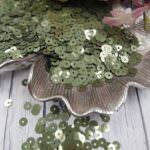 """Итальянские пайетки, плоские, Зеленый шалфей, эффект """"Метал"""" #2134, Andrea Bilics"""