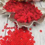 Italian Flat Sequins/Paillettes, Red Satin Aspect #466W, Andrea Bilics
