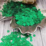 Italian Flat Sequins/Paillettes, Emerald Green Satin Aspect #746W, Andrea Bilics