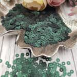 Italian Flat Sequins/Paillettes, Dark Green Satin Aspect #796W, Andrea Bilics