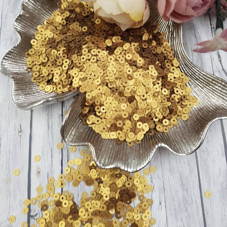 MP4-866W Satinati Antique Gold Italian Sequins, Andrea Bilics