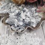 """Итальянские пайетки, плоские, серебро, эффект """"Сатин"""" #916W, Andrea Bilics"""