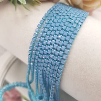 Same color cup chain, Light Blue Opal ss6, СС74