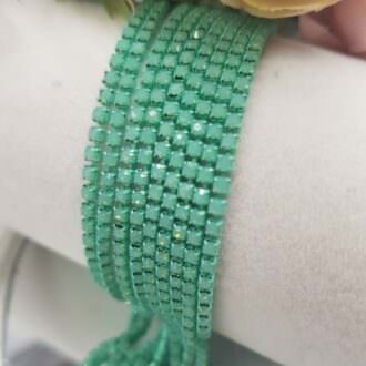 Same color cup chain, Mint Green Opal ss6, СС77